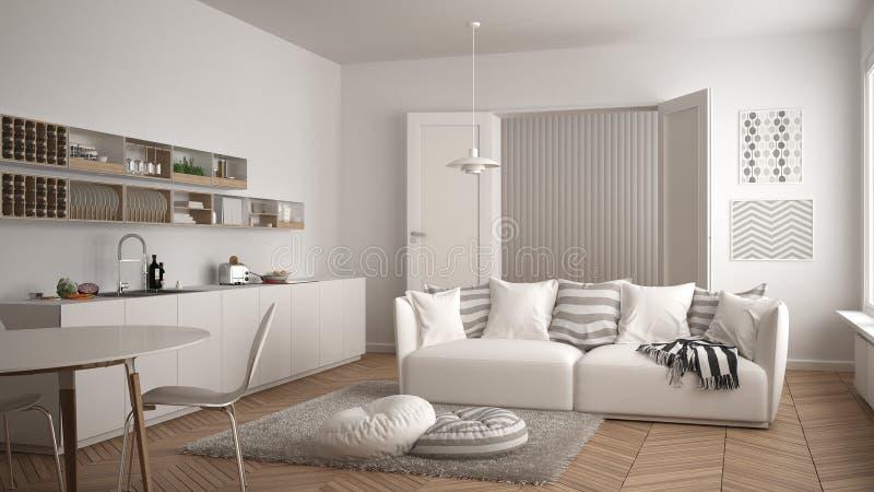 Skandynawski nowożytny żywy pokój z kuchnią, łomota stół, kanapę i dywanika z poduszkami, minimalistyczny biały architektury wnęt royalty ilustracja