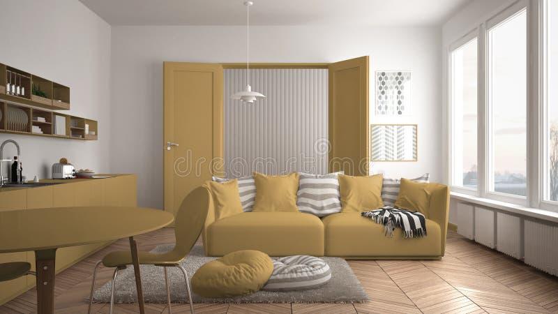 Skandynawski nowożytny żywy pokój z kuchnią, łomota stół, kanapa, dywanik z poduszkami i minimalistyczna architektura, biała i żó fotografia royalty free
