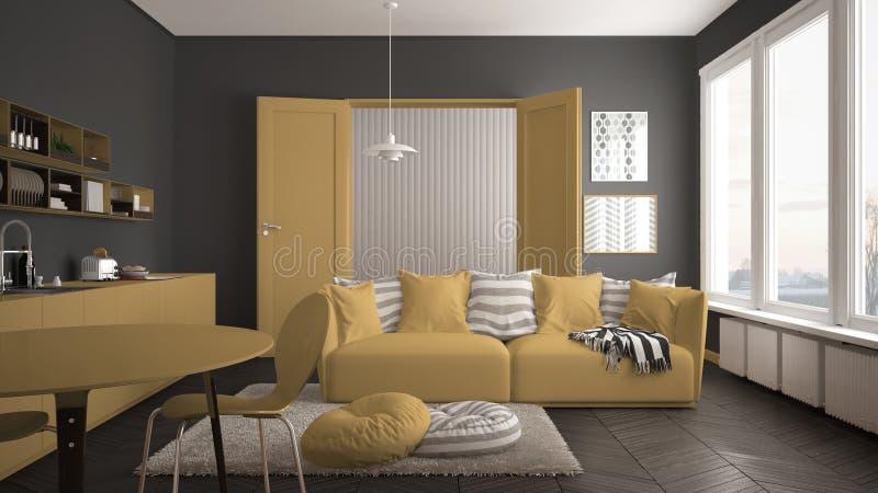 Skandynawski nowożytny żywy pokój z kuchnią, łomota stół, kanapa, dywanik z poduszkami i minimalistyczna architektura, biała i żó zdjęcie royalty free