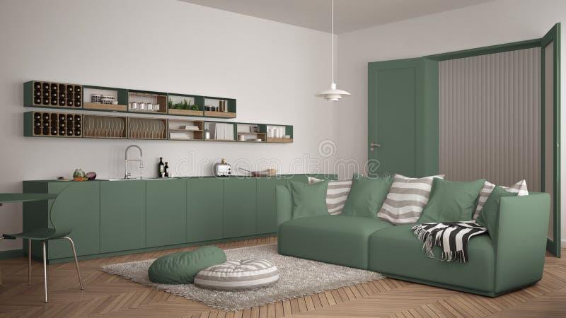 Skandynawski nowożytny żywy pokój z kuchnią, łomota stół, kanapa, dywanik z poduszkami i minimalistyczna architektura int, biała  zdjęcia stock