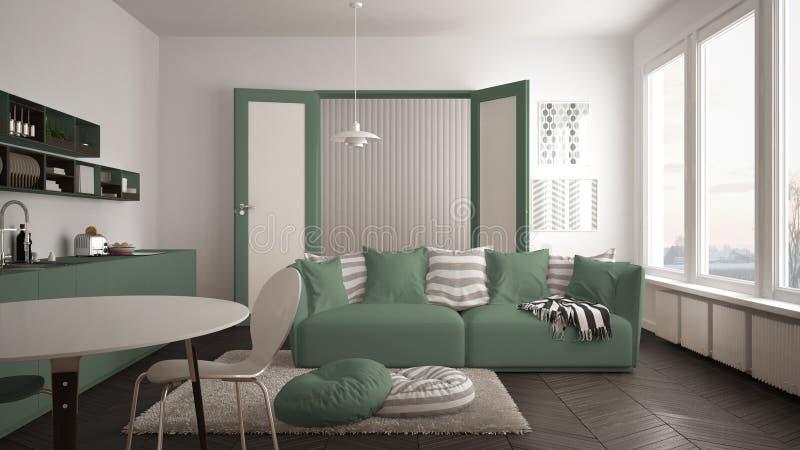 Skandynawski nowożytny żywy pokój z kuchnią, łomota stół, kanapa, dywanik z poduszkami i minimalistyczna architektura int, biała  obraz stock