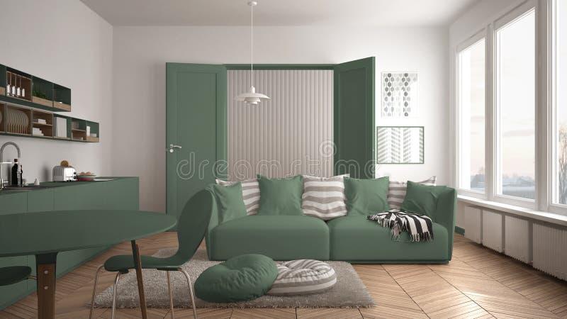 Skandynawski nowożytny żywy pokój z kuchnią, łomota stół, kanapa, dywanik z poduszkami i minimalistyczna architektura int, biała  obraz royalty free