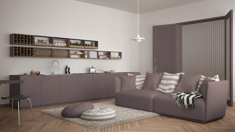 Skandynawski nowożytny żywy pokój z kuchnią, łomota stół, kanapa, dywanik z poduszkami i minimalistyczna architektura inter, biał zdjęcia royalty free