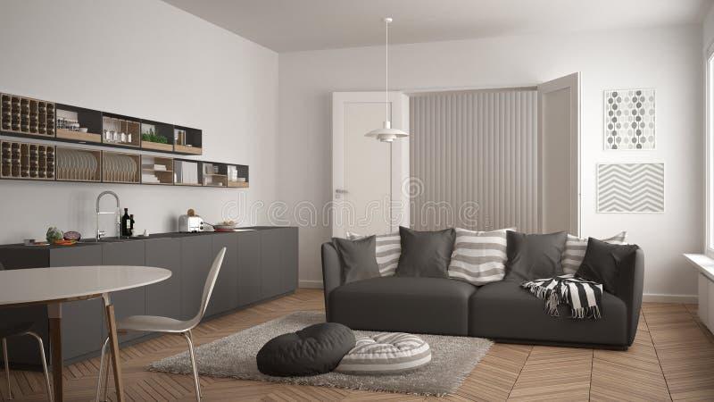 Skandynawski nowożytny żywy pokój z kuchnią, łomota stół, kanapa, dywanik z poduszkami i minimalistyczny architektury inte, biały obraz stock