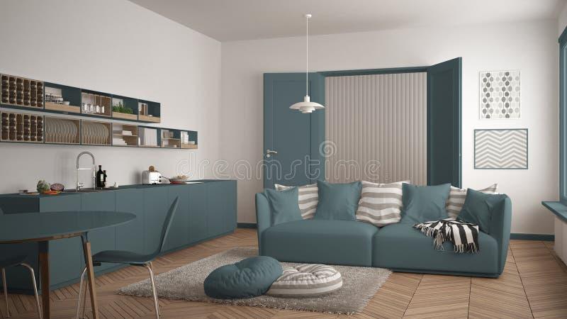 Skandynawski nowożytny żywy pokój z kuchnią, łomota stół, kanapa, dywanik z poduszkami i minimalistyczny architektury inte, biały zdjęcie royalty free