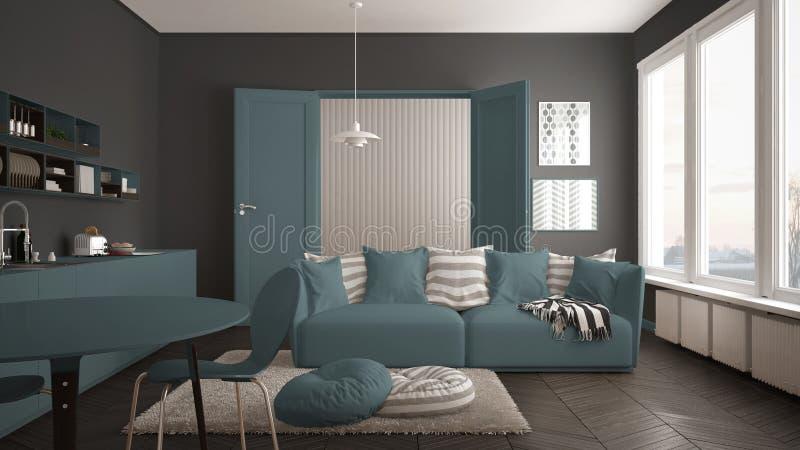 Skandynawski nowożytny żywy pokój z kuchnią, łomota stół, kanapa, dywanik z poduszkami i minimalistyczny architektury inte, biały fotografia royalty free