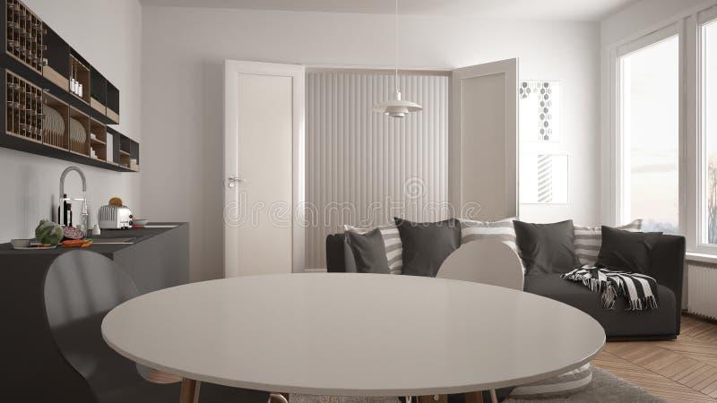 Skandynawski nowożytny żywy pokój z kuchnią, łomota stół, kanapa, dywanik z poduszkami i minimalistyczny architektury inte, biały zdjęcia royalty free