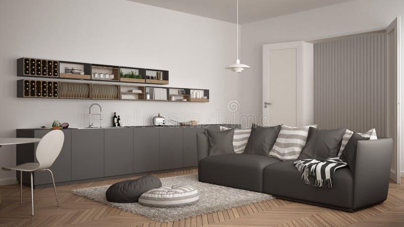 Skandynawski nowożytny żywy pokój z kuchnią, łomota stół, kanapa, dywanik z poduszkami i minimalistyczny architektury inte, biały obrazy royalty free