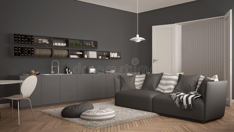 Skandynawski nowożytny żywy pokój z kuchnią, łomota stół, kanapa, dywanik z poduszkami i minimalistyczny architektury inte, biały zdjęcie stock