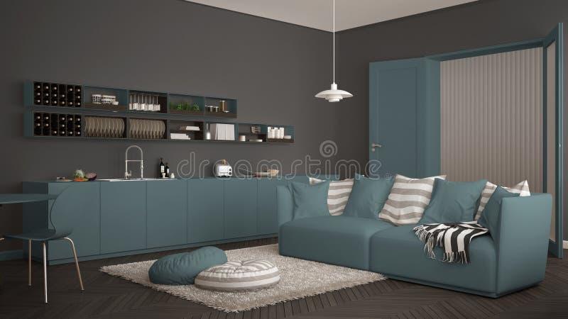 Skandynawski nowożytny żywy pokój z kuchnią, łomota stół, kanapa, dywanik z poduszkami i minimalistyczny architektury inte, biały fotografia stock