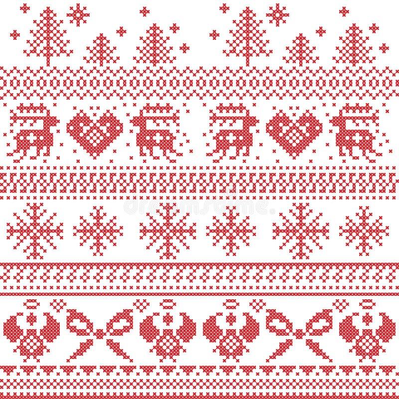 Skandynawski północny xmas wzór z reniferem, króliki, xmas drzewa, aniołowie, łęk, serce, w przecinającym ściegu ilustracji