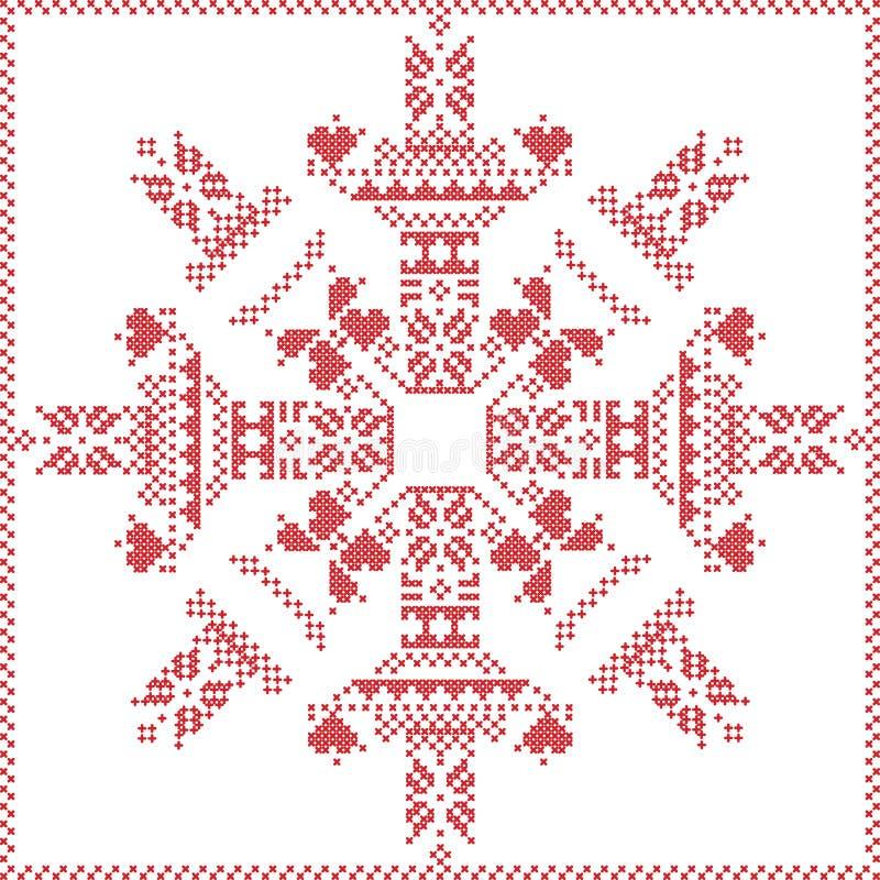 Skandynawski Północny zima ścieg, dziewiarski boże narodzenie wzór wewnątrz w płatka śniegu kształcie z przecinającą ścieg ramą w royalty ilustracja