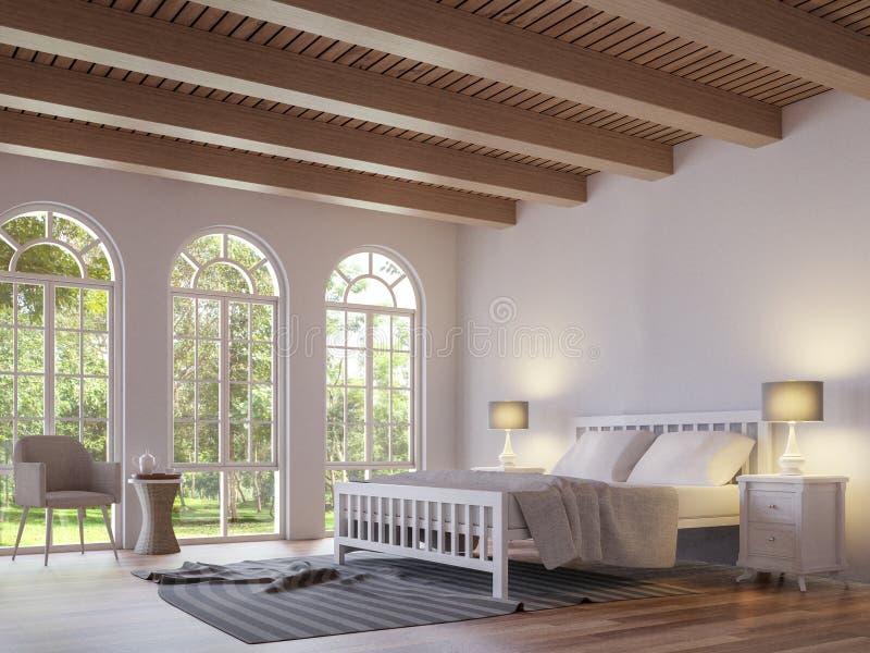 Skandynawski sypialni 3d renderingu wizerunek royalty ilustracja