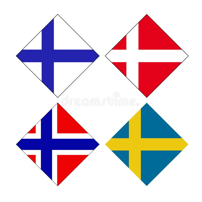 Skandynawskich krajów flagi - Fińskie, Duński Norwegu i szwedów flagi royalty ilustracja