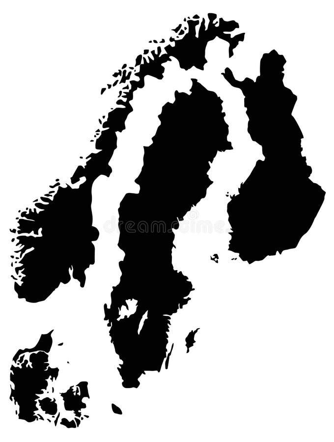 Skandynawskich krajów mapa - region w Północnym Europa royalty ilustracja