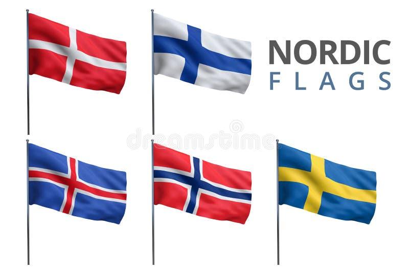 Skandynawskie Północne flaga ilustracji