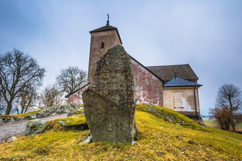 Skanela, Suecia - 1 de abril de 2017: Iglesia de Skanela, Suecia foto de archivo