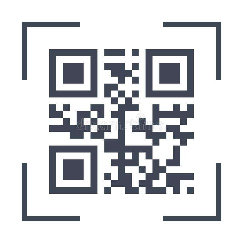 Skanować czarnego qarcode na telefonu ekranu ikonie, prosty płaski projekta interfejsu element dla app ui ux, interfejs, sieć, gu ilustracji