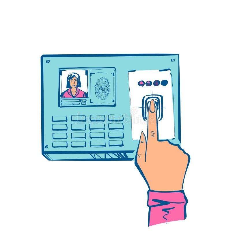 Skanowanie palcem Autoryzacja w systemie zabezpieczeń royalty ilustracja
