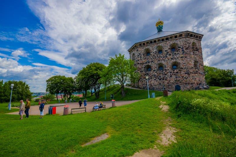 Skansen Kronan fortress in Gothenburg, Sweden. GOTHENBURG, SWEDEN - JUNE 21, 2015: Skansen Kronan, old fortress in Gothenburg city downtown royalty free stock photos