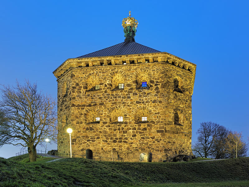 Skansen Kronan in Gothenburg, Sweden in evening. Skansen Kronan (the Crown Redoubt) on top of Skansberget hill of Gothenburg, Sweden in evening. The plate above royalty free stock image