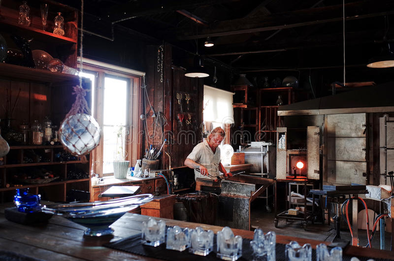 Skansen, STOCKHOLM, SWEDEN. STOCKHOLM, SWEDEN - SEPTEMBER 15, 2014 : Glass blowing workshop at the Skansen. It is the world`s first open-air museum, founded in royalty free stock photos