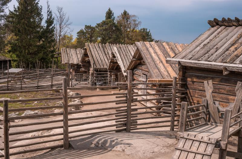 Skansen, the world`s oldest open-air museum. Old Swedish buildings. Countryside. Pens for livestock. Stockholm, Sweden.  royalty free stock image