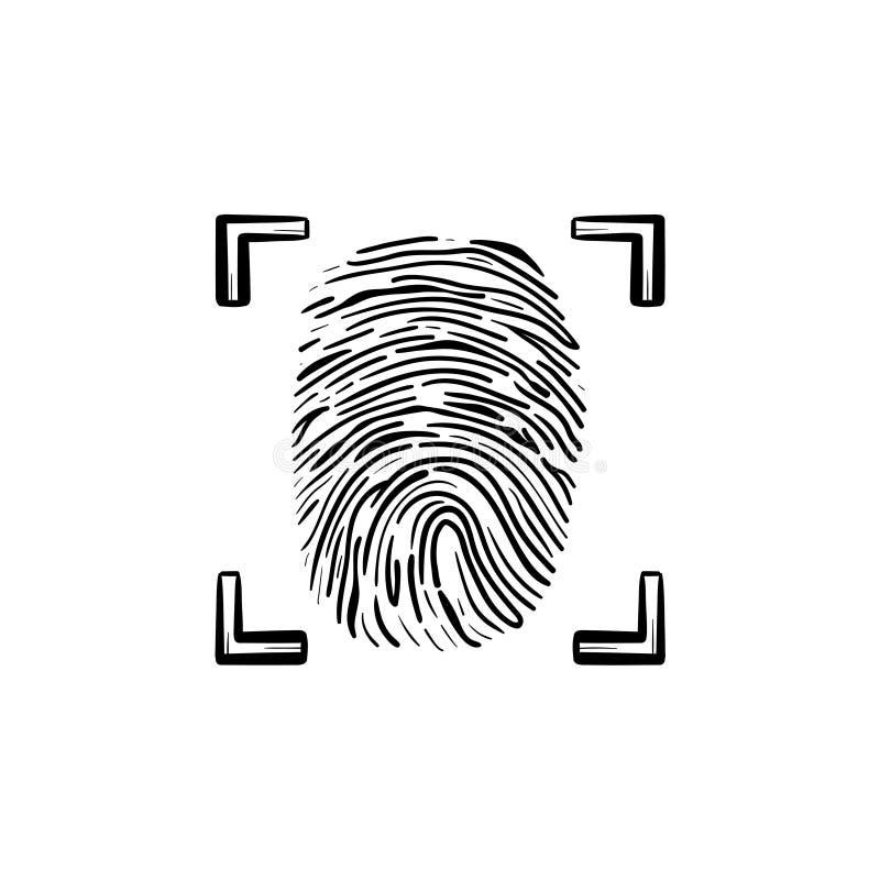 Skanujący odcisk palca w ramowa ręka rysującej konturu doodle ikonie ilustracja wektor