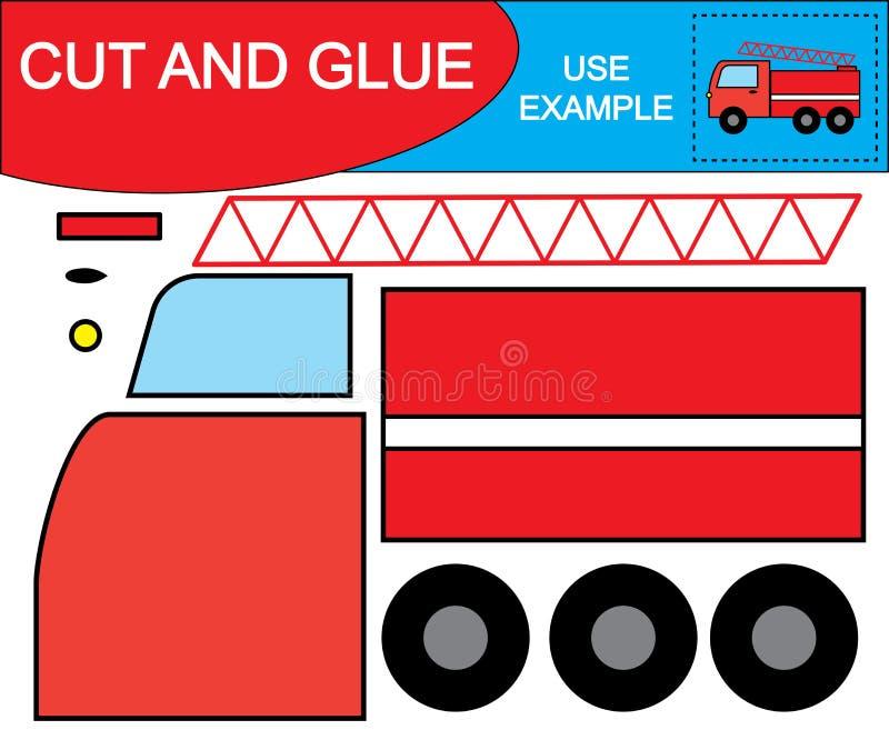 Skapa bilden av bilen för brandflykten genom att använda sax och lim Kid's lek royaltyfri illustrationer