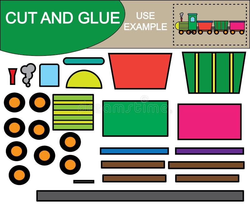 Skapa bilden av drevet genom att använda sax och lim Kid's lek stock illustrationer