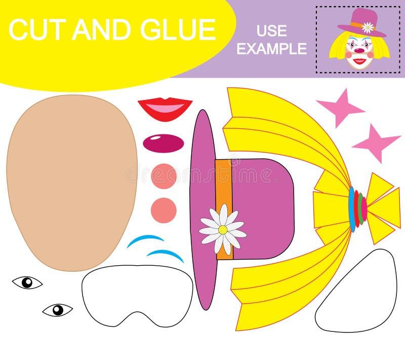 Skapa bilden av framsidan av flickaclownen som använder sax och lim Pappers- lek för barn också vektor för coreldrawillustration stock illustrationer