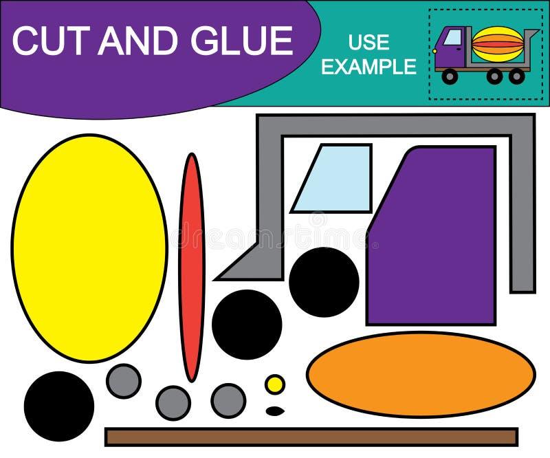 Skapa bilden av transport för den konkreta blandaren genom att använda sax och lim stock illustrationer