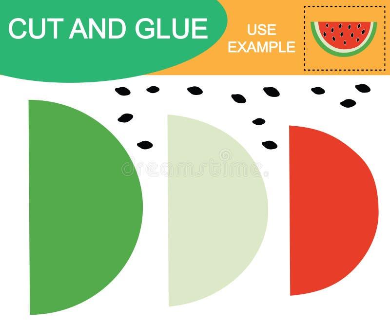 Skapa bilden av vattenmelonbäret genom att använda sax och lim Bildande lek för barn vektor stock illustrationer