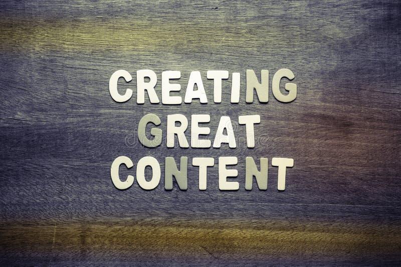 Skapa det stora innehållet arkivfoto