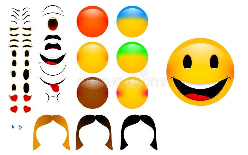 Skapa dina egna emoticons med kvinnaversion royaltyfri bild