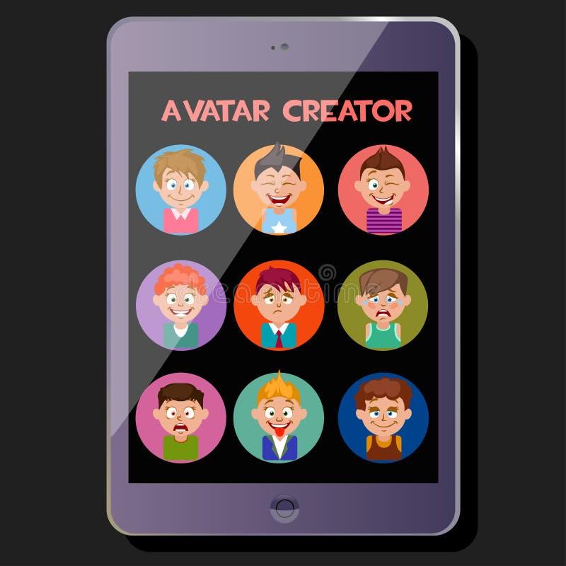 Skapa en gullig avatar, sinnesrörelser och frisyrer vektor illustrationer