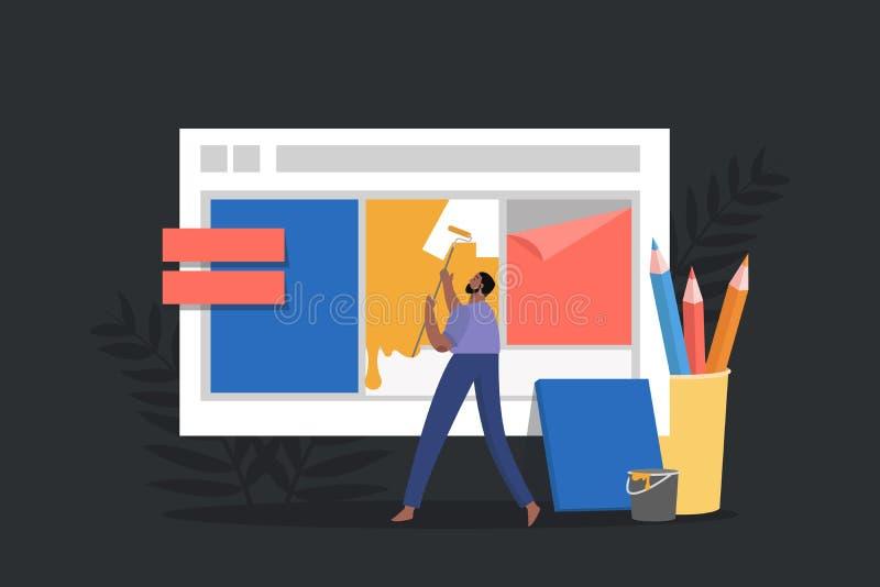 Skapa en rengöringsdukdesign för platsen Online-begreppet för arbetsplatsen, män skapar en landa sida royaltyfri illustrationer