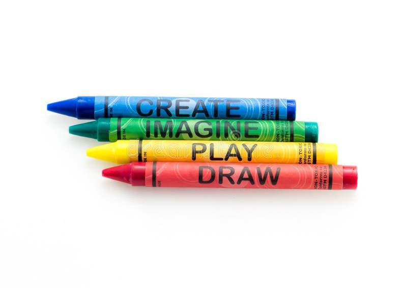 Skapa föreställer lekattraktionfärgpennor fotografering för bildbyråer