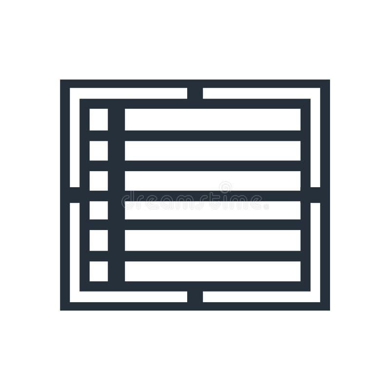 Skapa tecknet för vektorn för listaknappsymbolen, och symbolet som isoleras på vit bakgrund, skapar begrepp för listaknapplogo vektor illustrationer