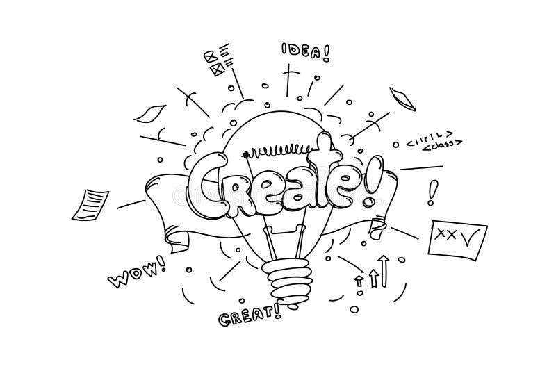 Skapa uttrycket, dragen motivative illustrationisolat för vektor handen stock illustrationer