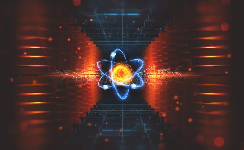 Skapelse av konstgjord intelligens Experiment med den hadronic collideren Utredning av strukturen av en atom royaltyfri illustrationer