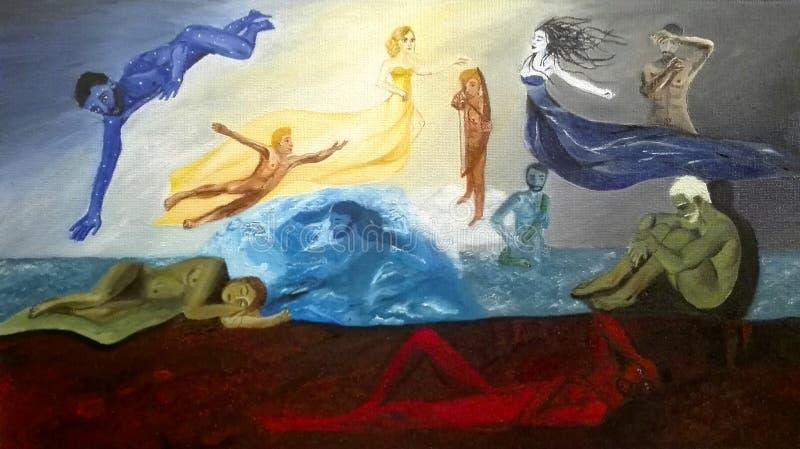 Skapelse av världen - grekisk mytologi stock illustrationer