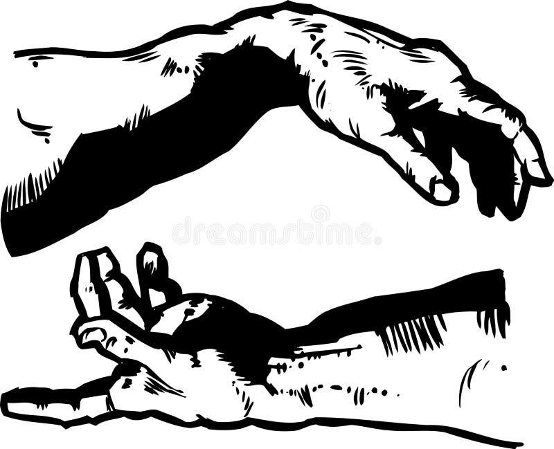 skapelsen hands religi stock illustrationer