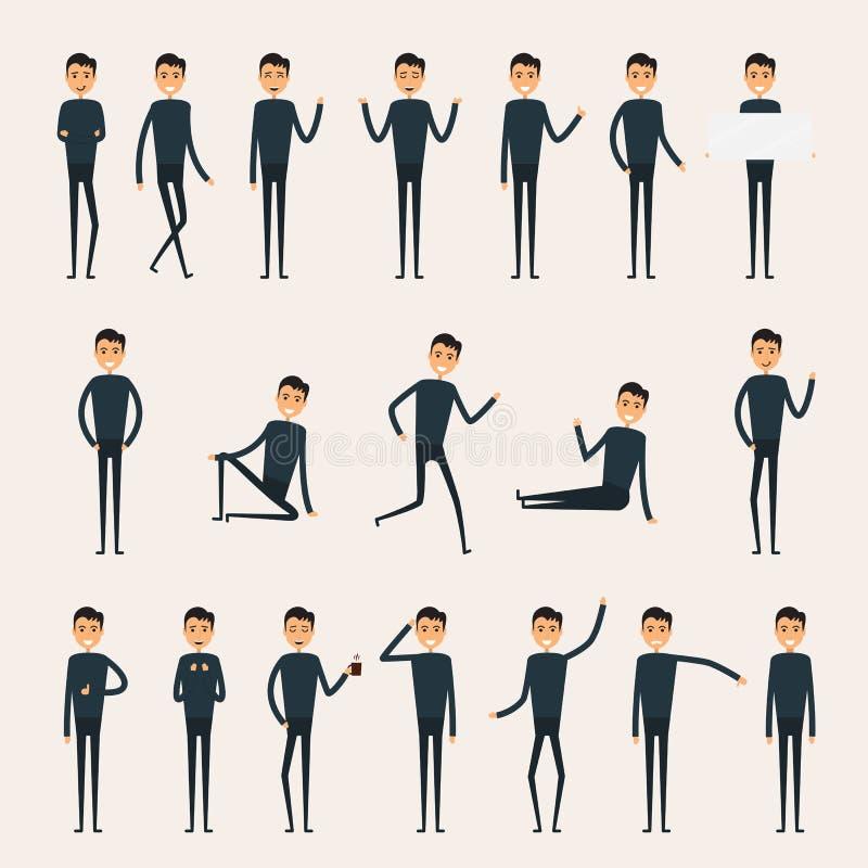 Skapelseuppsättning för manligt tecken Tecken för affärsman stock illustrationer