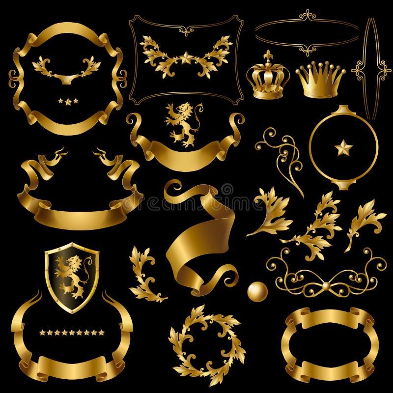 skapelseuppsättning med guld- beståndsdelar för tappning stock illustrationer