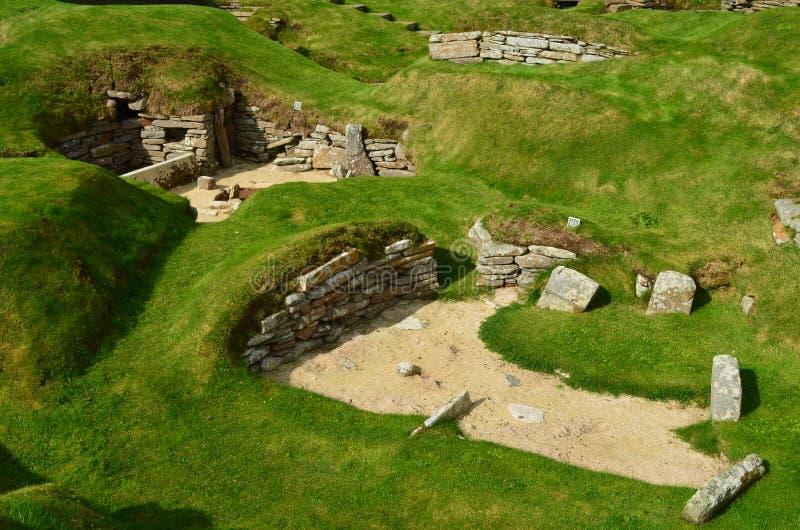 Skara Brae, Neolityczna ugoda w wybrzeżu stały ląd wyspa, Orkney, Szkocja fotografia stock