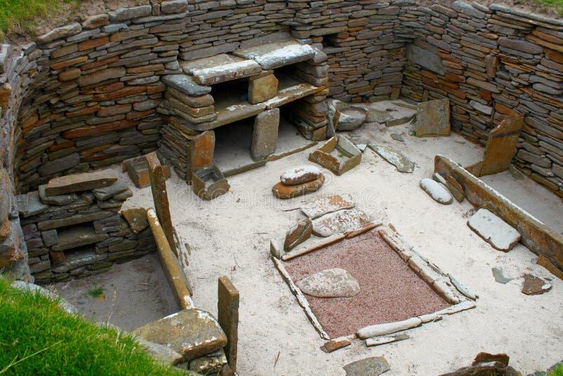 Skara Brae - Preserved neolithic house stock images