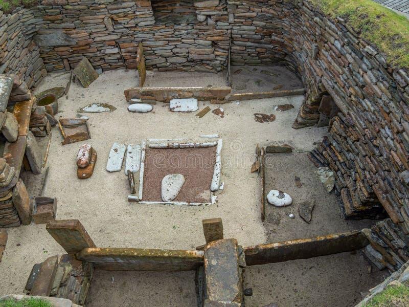 Skara Brae, Scottish Pompeii. Orkney, Scotland. Sara Brae, Scottish Pompeii, stone-built Neolithic settlement on the Bay of Skaill. Eight clustered houses stock photos