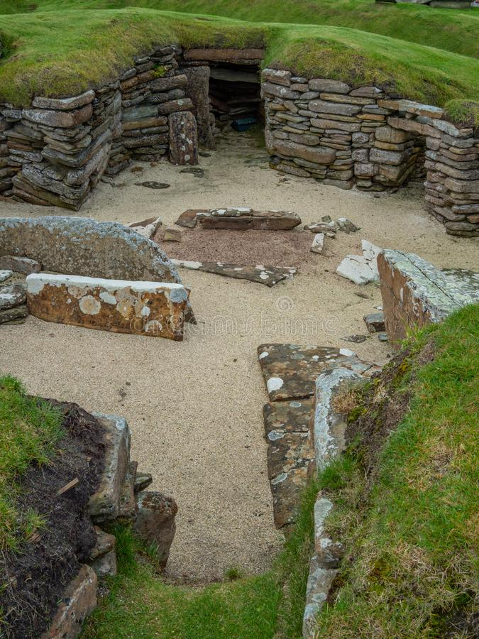 Skara Brae, Scottish Pompeii. Orkney, Scotland. Sara Brae, Scottish Pompeii, stone-built Neolithic settlement on the Bay of Skaill. Eight clustered houses stock photography