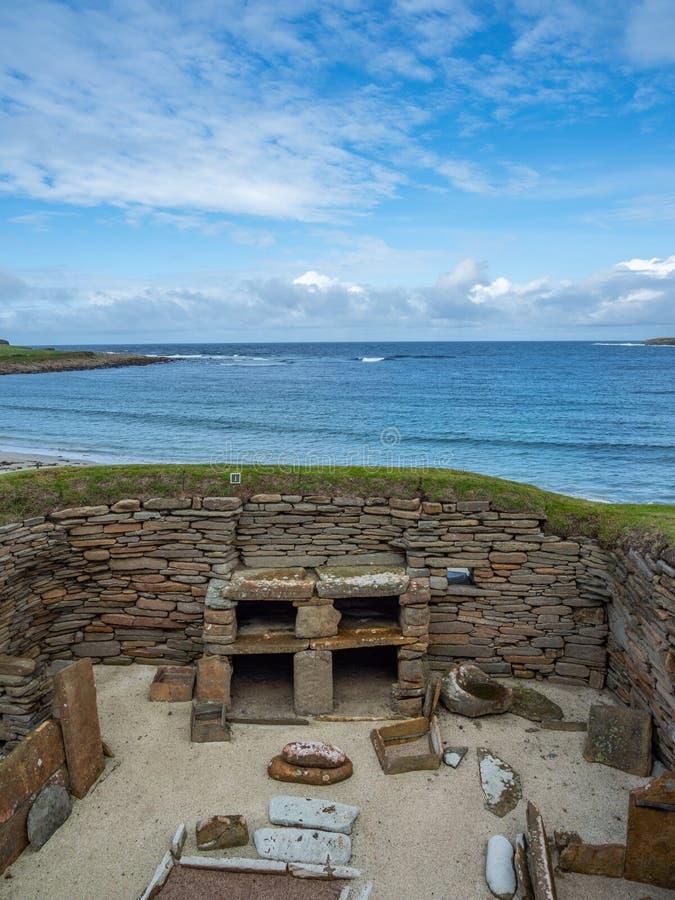 Skara Brae, Scottish Pompeii. Orkney, Scotland. Sara Brae, Scottish Pompeii, stone-built Neolithic settlement on the Bay of Skaill. Eight clustered houses royalty free stock photo